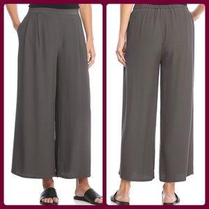 Eileen Fisher grey tencel wide leg pants size SP